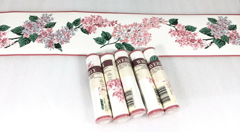 Waverly Wallpaper Border Pink White Lilac Flowers Lot Of 5 ...
