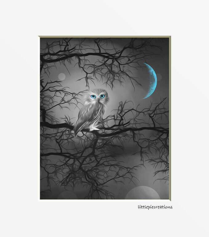 Black White Teal Owl Tree Moon Home Decor Wall Art Matted