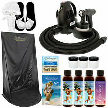 Sunless Airbrush HVLP SPRAY TANNING SYSTEM Simple Tan Solution Kit Curtain Tent