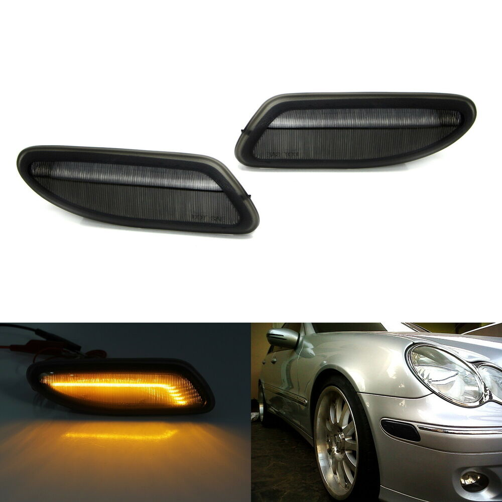 Euro Smoked Lens Amber LED Side Marker Lights For 01-07 Mercedes W203 C-Class  | eBay