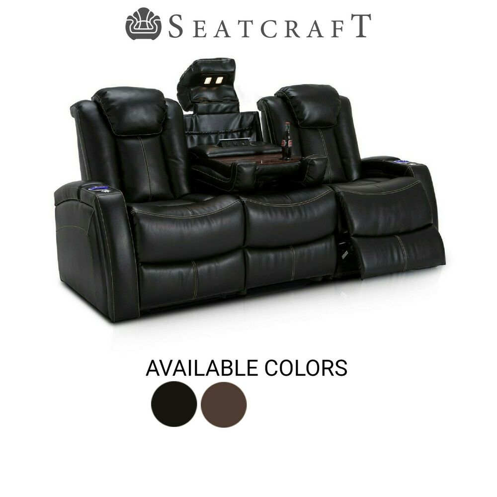 Lane Omega Leather Gel Power Home Theater Seating Sofa