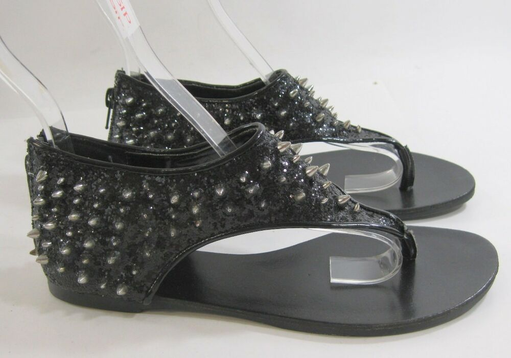 Summer Black Spike Womens Shoes Roman Gladiator Flat