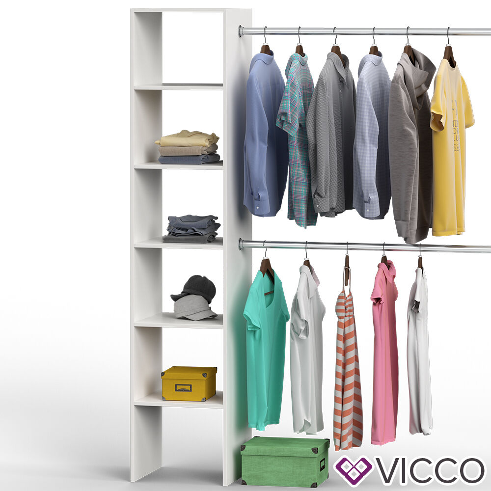 vicco kleiderschrank offen begehbar regal kleiderst nder schrank wei garderobe ebay. Black Bedroom Furniture Sets. Home Design Ideas