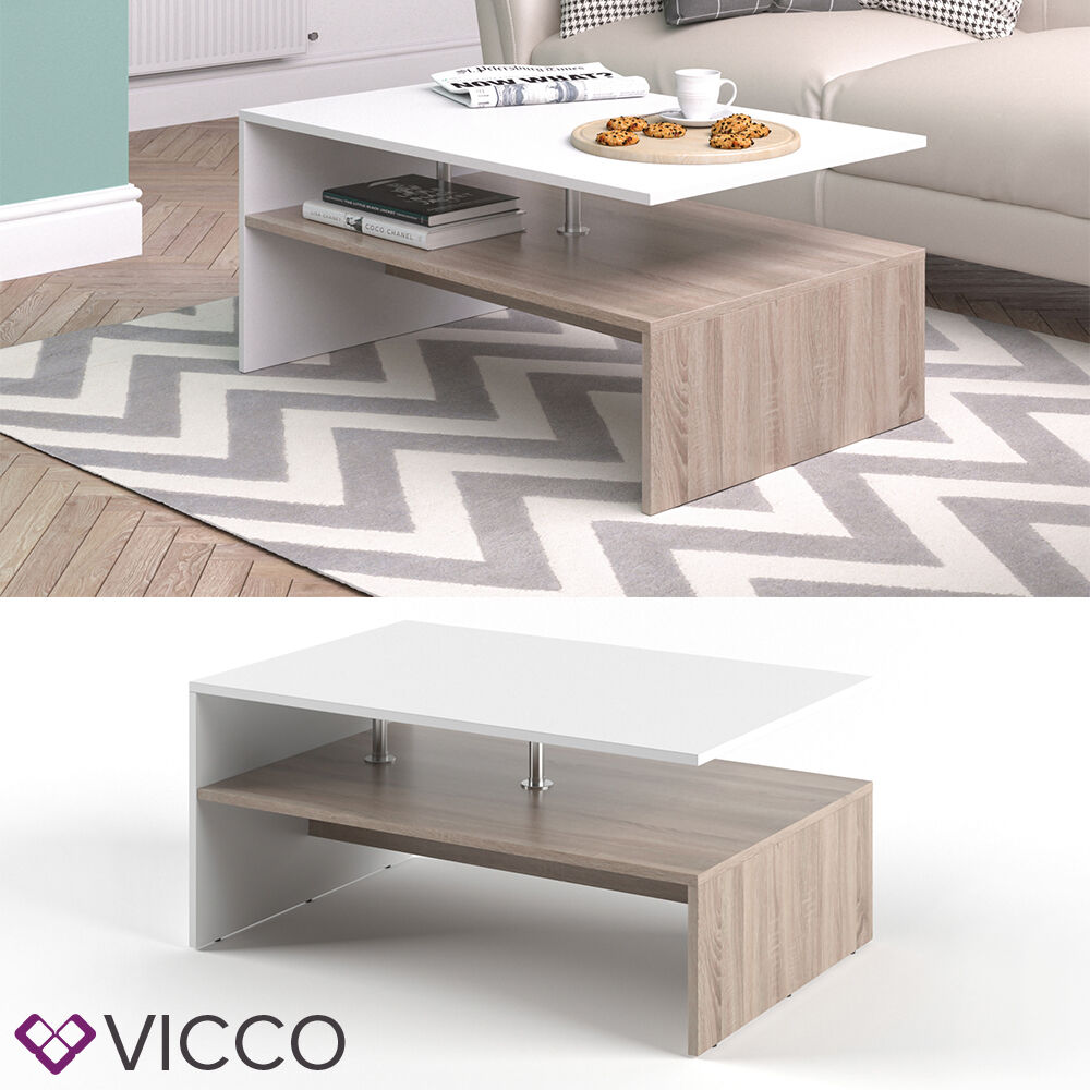 vicco couchtisch amato in wei eiche sonoma wohnzimmer sofatisch kaffeetisch ebay. Black Bedroom Furniture Sets. Home Design Ideas