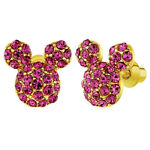 18k Gold Plated Pink Crystal Small Mouse Girls Screw Back Earrings
