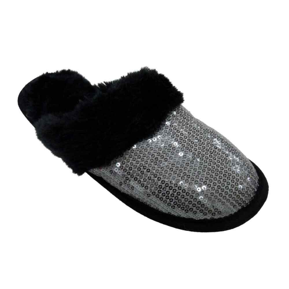 73813647b6b9 Details about Envision Studio Women Black Silver Sequin Slippers House  Shoes Scuff S (5-6)