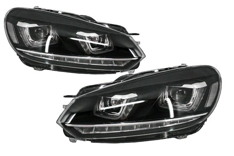 scheinwerfer vw golf 6 vi 08 13 3d led drl u golf 7 look. Black Bedroom Furniture Sets. Home Design Ideas