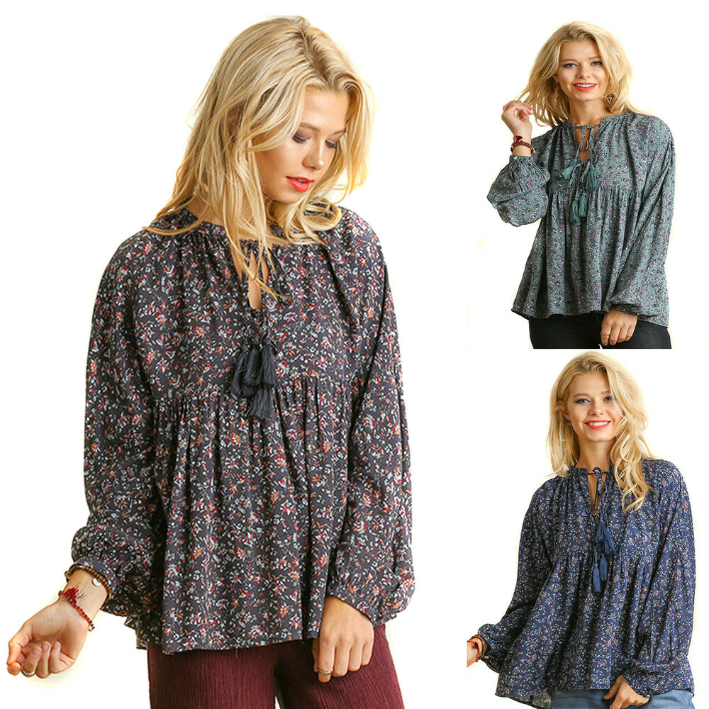 Details about UMGEE Womens Floral Baby Doll Chic Bohemian Long Ballon  Sleeves Top Blouse S M L 24771aef5b95