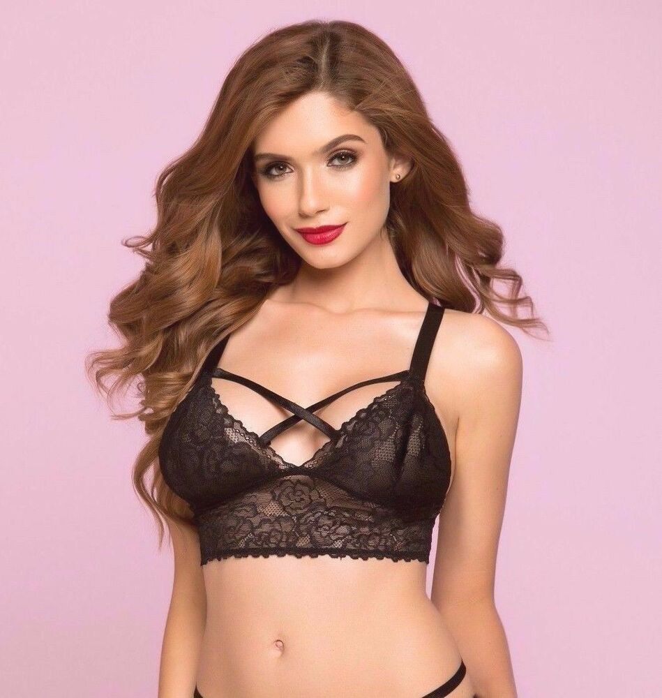 5fca7f813 Details about Bianca Rose Galloon Lace Bralette Women s Valentine s Day New  Black Extra Large