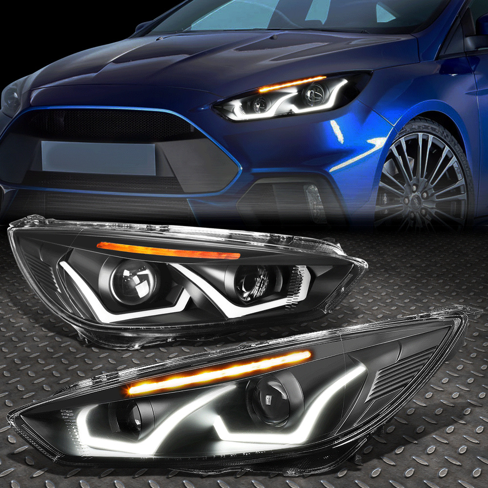 Details About Led Dual Halo For 2017 Ford Focus Black Amber Projector Headlight Lamp