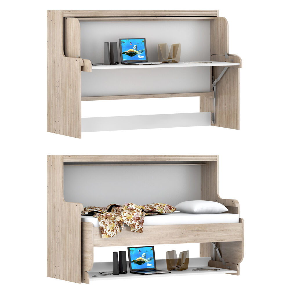 funktionsbett dakota klappbett schreibtisch schrank eiche san remo wei 90x200 5901738013179 ebay. Black Bedroom Furniture Sets. Home Design Ideas