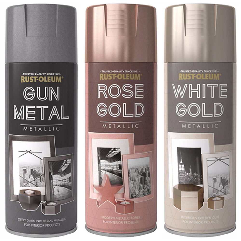 rust oleum 400ml metallic finish spray paint gun metal. Black Bedroom Furniture Sets. Home Design Ideas