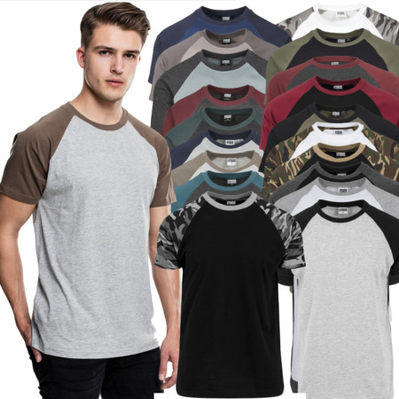 img-Urban Classics Raglan Contrast Tee T-Shirt Two-Coloured Baseball Camo Bundeswehr
