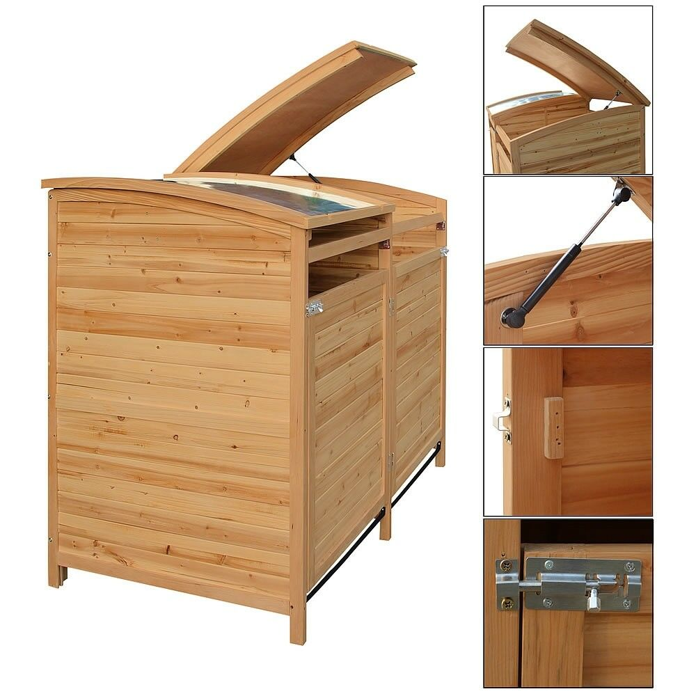 2 st ck m lltonnenbox doppelbox m lltonnenverkleidung m lltonne 240 l holz decke ebay. Black Bedroom Furniture Sets. Home Design Ideas