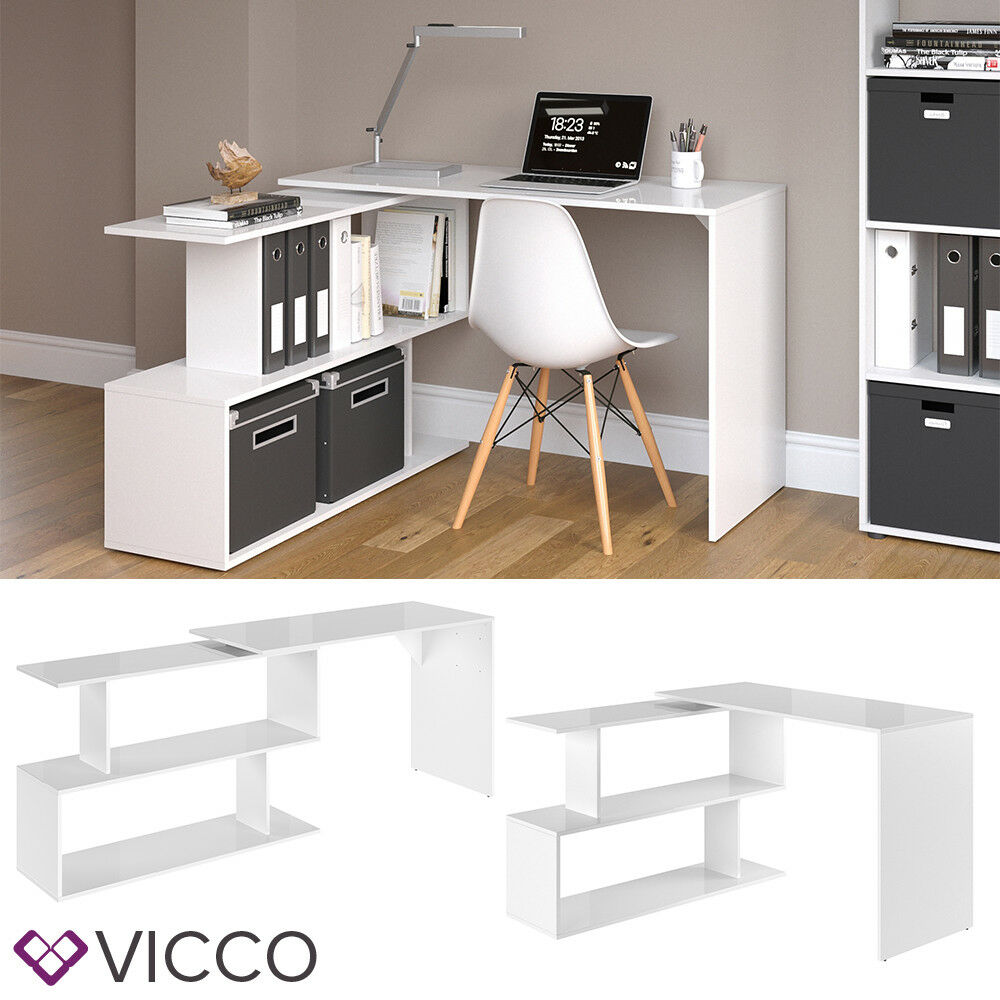 vicco eckschreibtisch levia wei hochglanz pc tisch arbeitstisch computer b ro ebay. Black Bedroom Furniture Sets. Home Design Ideas