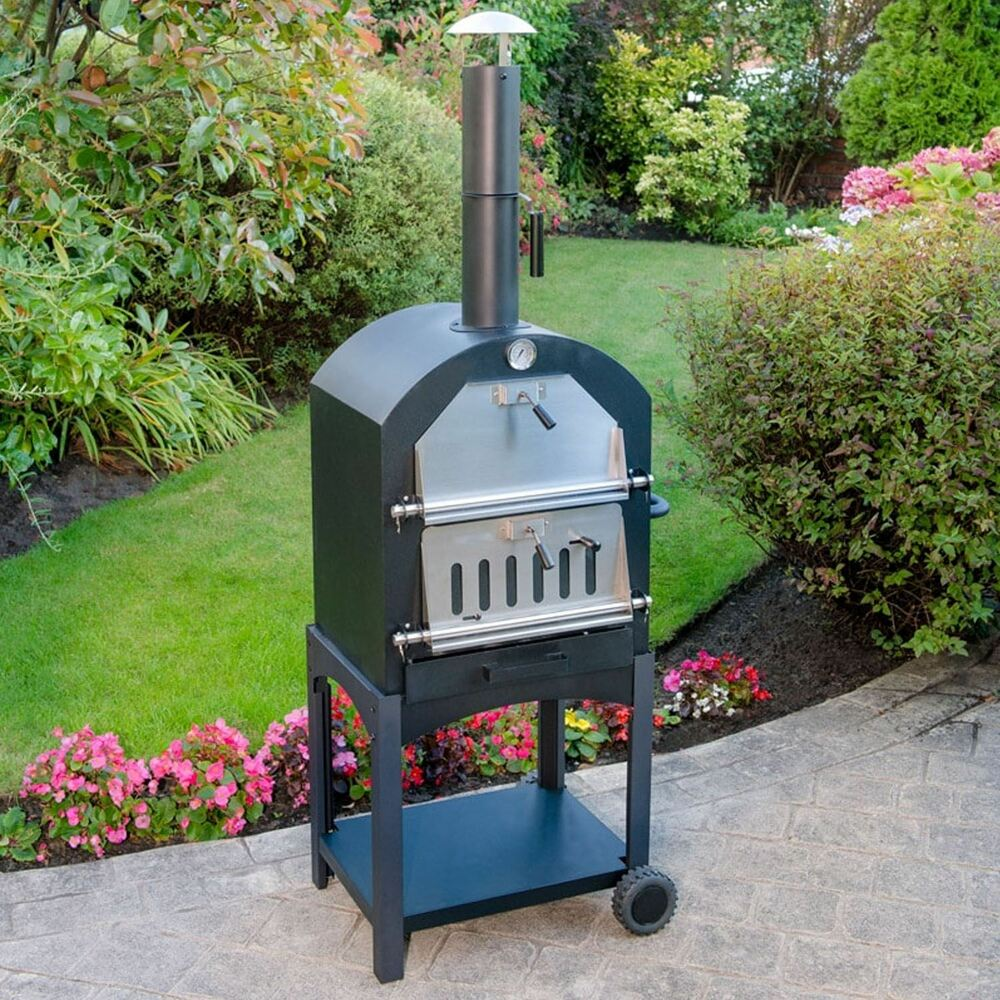 Multi-Function Portable Outdoor Garden Steel Barbecue Wood ... on Outdoor Patio With Pizza Oven id=77462