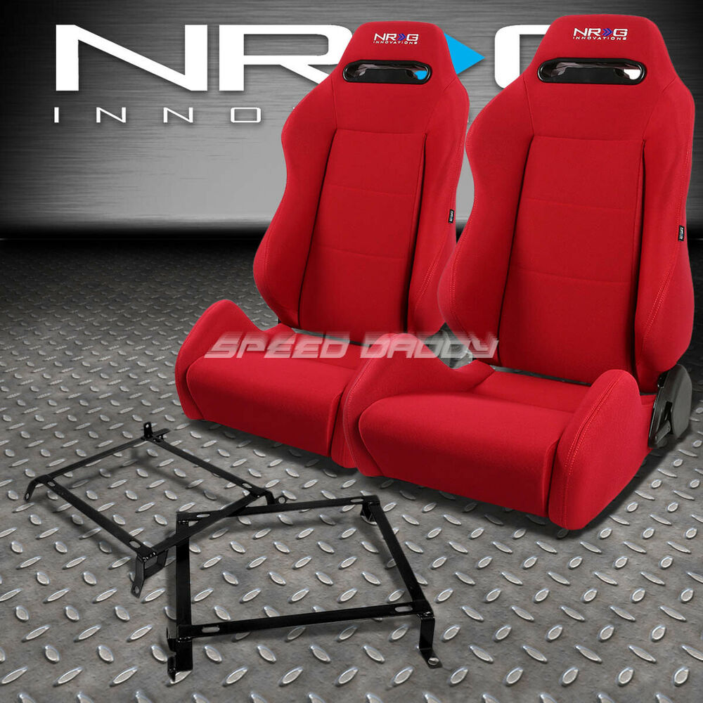 NRG TYPE R RED RECLINABLE RACING SEATS+BRACKET FOR CIVIC EJ/EK/