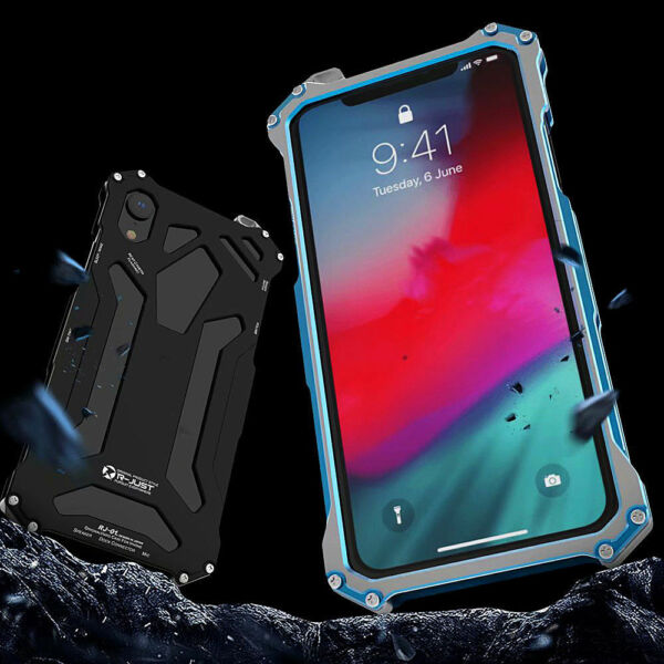 For iPhone X XR XS MAX Fashion Waterproof Shockproof R-just Metal Case Cover