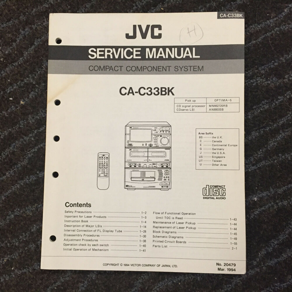 Jvc Ax 40 Service Manual Wiring Library Simple Comfort 2200 Thermostat Diagram Original For Ca Model Stereo Music Systems Owner Select One Ebay