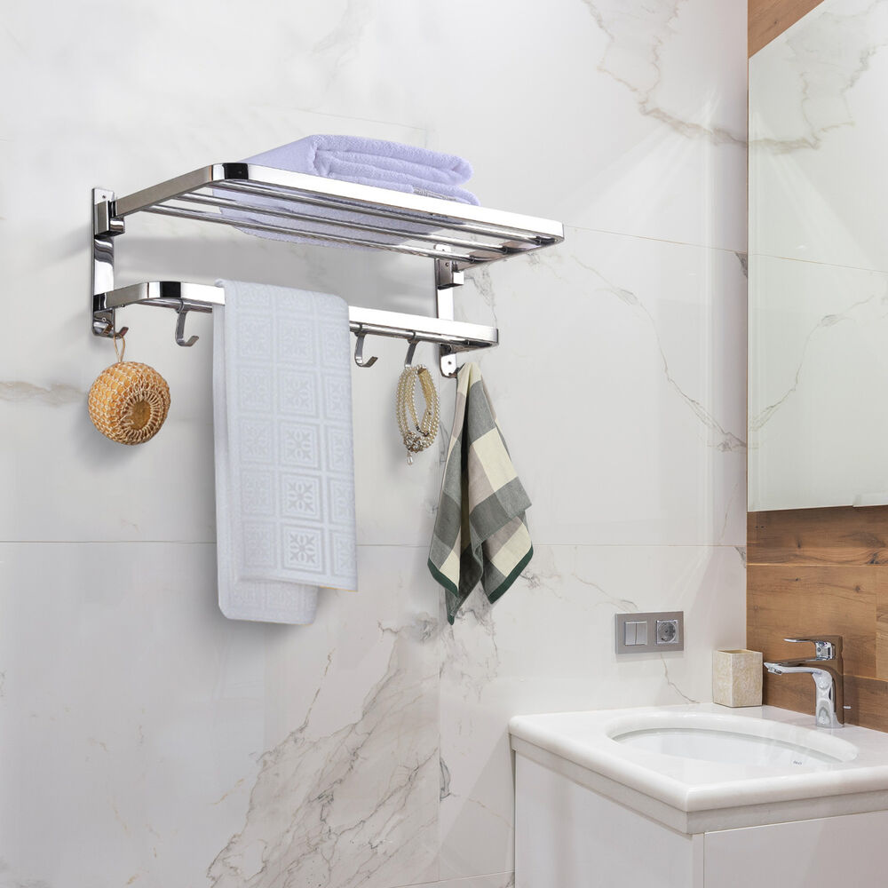 foldable 304 stainless steel towel rack bar wall mounted holder bathroom shelf 657258003446 ebay. Black Bedroom Furniture Sets. Home Design Ideas