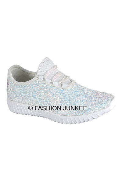 Details about White Glitter Bomb Sneakers Tennis Shoes Lace Up Flats  Comfortable Designer 5-10 e250509c08