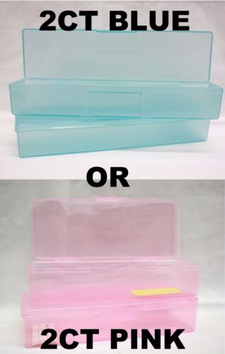 Salon PERSONAL CARE BOX Plastic Container Nail Tools Holder 2ct - Pink or Blue