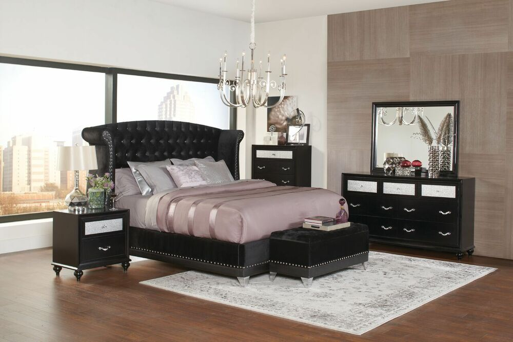 4 PC BLING BLACK METALLIC VELVET TUFTED QUEEN BED BEDROOM ...