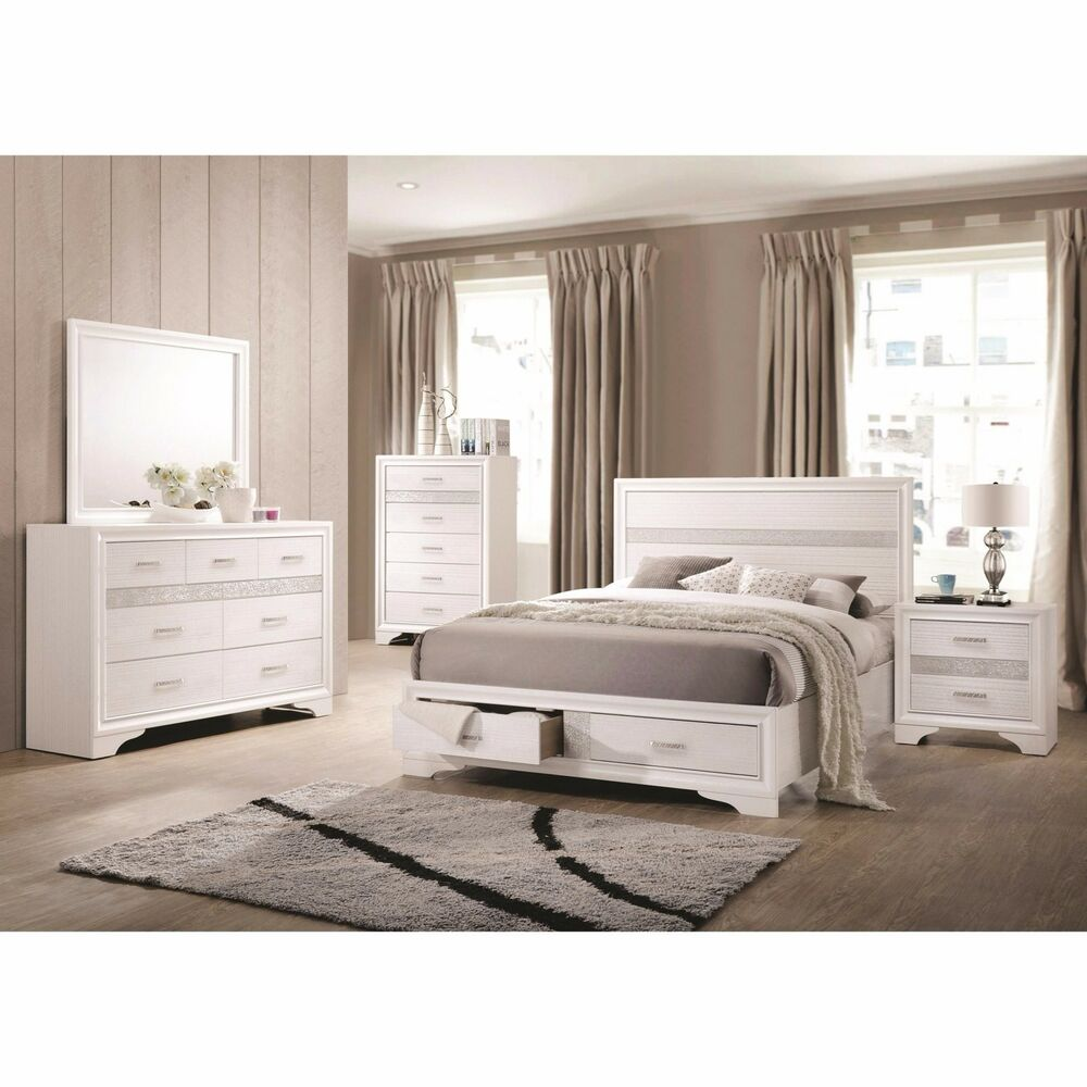 BLING 4 PC WHITE AND 3D FOIL QUEEN STORAGE N/S DRESSER BED BEDROOM ...