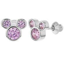 925 Sterling Silver Pink Cubic Zirconia Mouse Screw Back Earrings for Girls