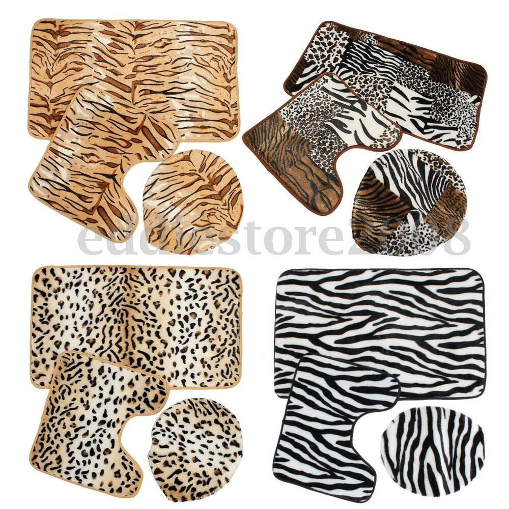 Zebra Leopard Print Toilet Cover Set 3 Pc Bathroom Mat Rug
