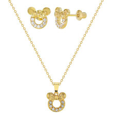 18k Gold Plated Clear CZ Mouse Girls Screw Back Earrings Pendant Jewelry Set