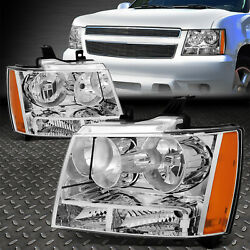 Kyпить FOR 07-14 CHEVY TAHOE SUBURBAN CHROME HOUSING AMBER CORNER HEADLIGHT HEAD LAMPS на еВаy.соm