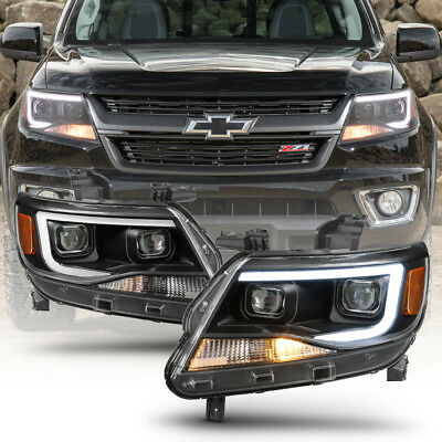 Black 2015-2019 Chevy Colorado LED Tube DRL Dual Projector Headlights Headlamps