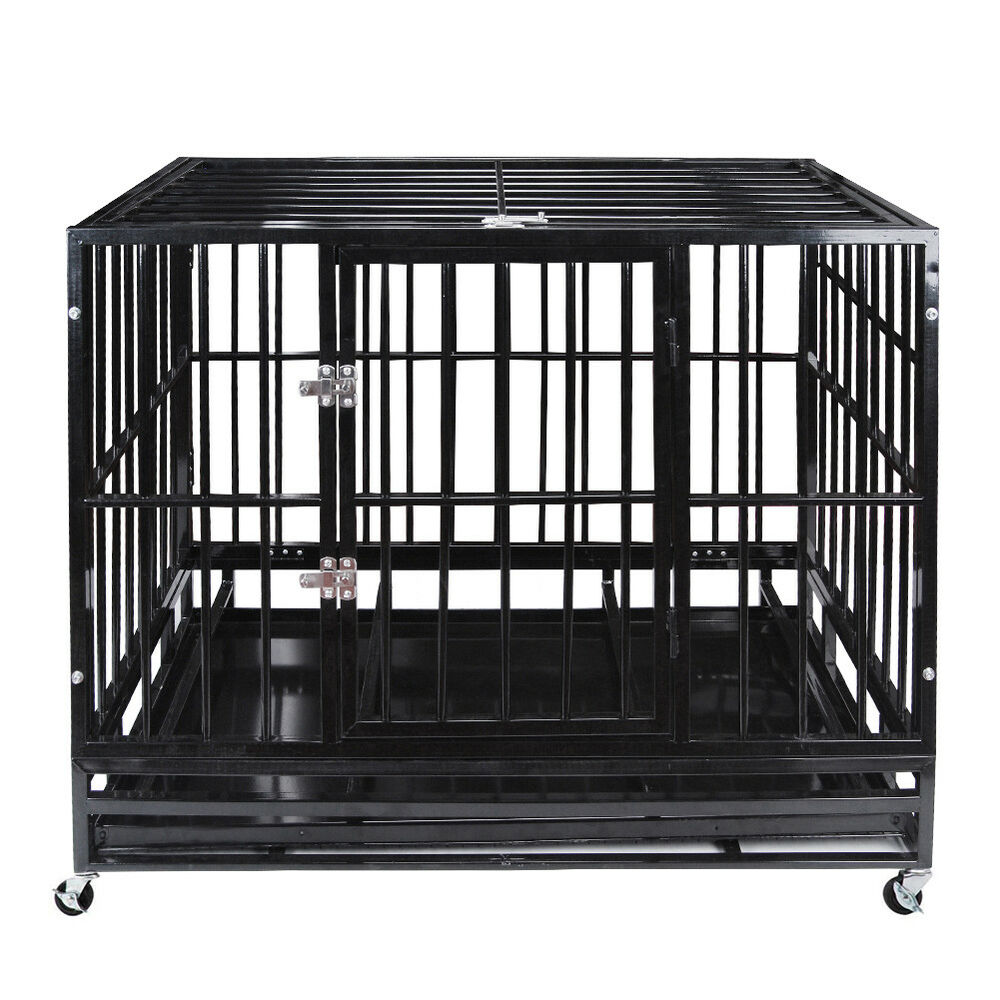 Details About 48 Heavy Duty Pet Dog Cage Strong Metal Crate Kennel Playpen W Wheels Tray