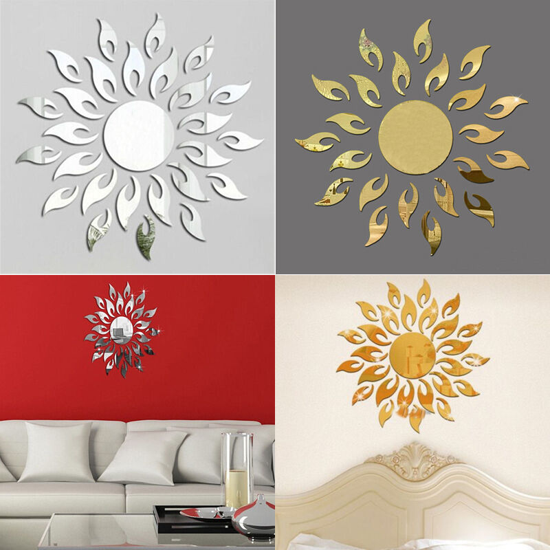 sonnenblume feuer wandtatoo wandsticker wand wandaufkleber spiegel haus deko neu ebay. Black Bedroom Furniture Sets. Home Design Ideas