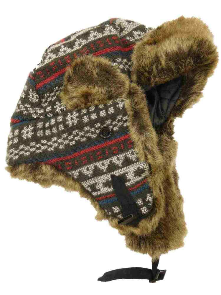 Details about Womens Blue Grey White   Red Cross Stitch Pattern Faux Fur  Trapper Hat e4cdf3f3bfd