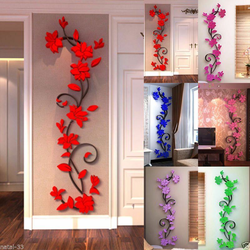 wandtattoo 3d diy blumen spiegel wanddeko wanddekoration zimmer aufkleber deko p ebay. Black Bedroom Furniture Sets. Home Design Ideas