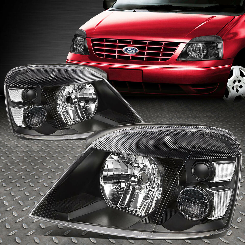 Details About For 2004 2007 Ford Freestar Pair Black Housing Clear Corner Headlight Lamp Set