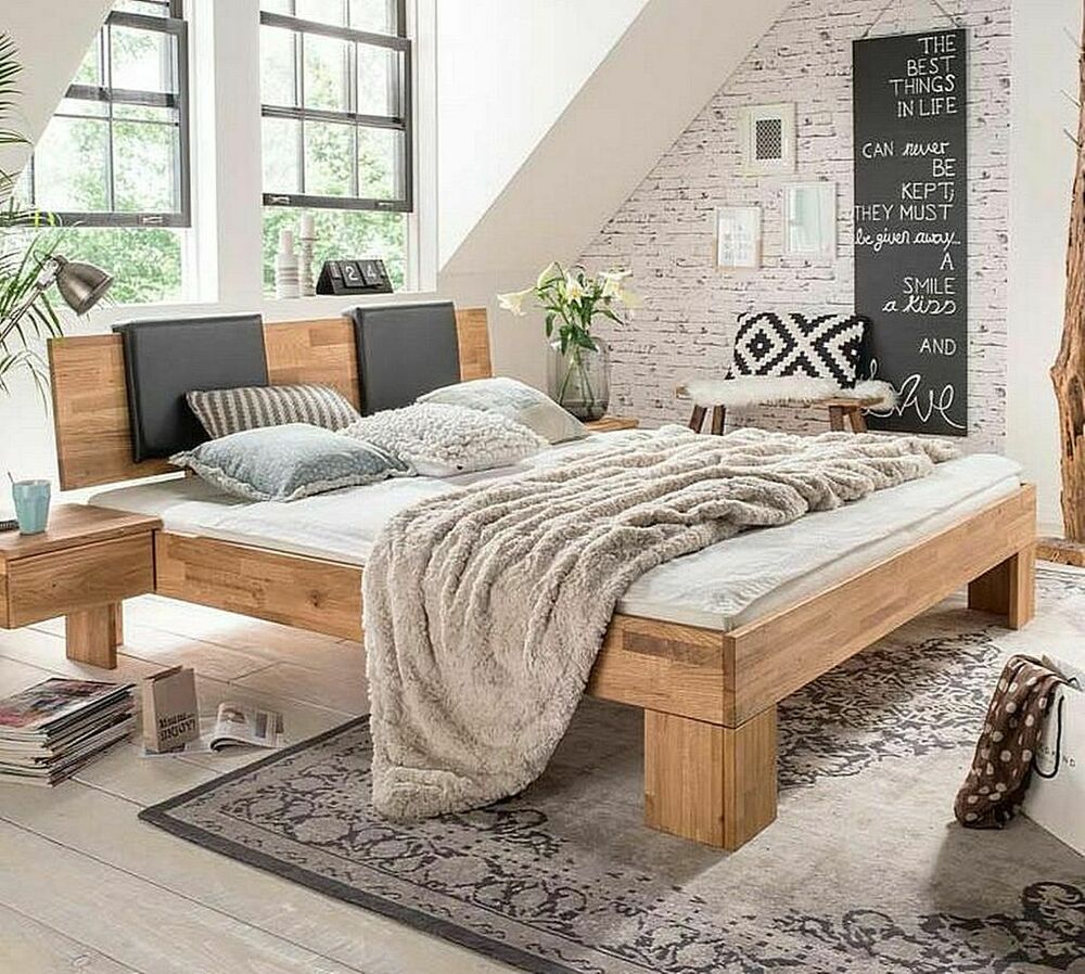 massivholz bett 140x200 mit leder polster wildeiche ge lt bettgestell holzbett ebay. Black Bedroom Furniture Sets. Home Design Ideas