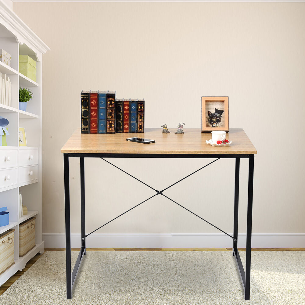 bureau d 39 ordinateur table de bureau table de travail en bois et acier tsb03hei ebay. Black Bedroom Furniture Sets. Home Design Ideas
