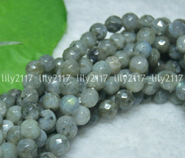 Wholesale Faceted 8mm Natural Real Labradorite Round Gems Loose Beads 15