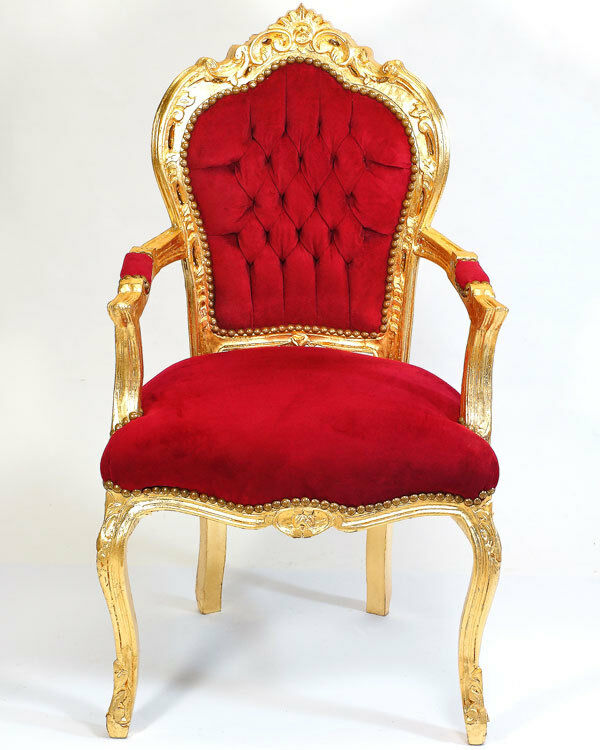 barock stuhl rot gold luxus sitzm bel edler armlehnstuhl komfort sessel stuhl ebay. Black Bedroom Furniture Sets. Home Design Ideas