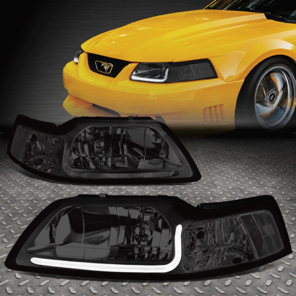 [LED DRL]FOR 1999-2004 FORD MUSTANG PAIR SMOKED HOUSING CLEAR CORNER HEADLIGHT