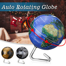 360° Automatic Rotating Earth Globe World Map Geography Educate Tool Gift