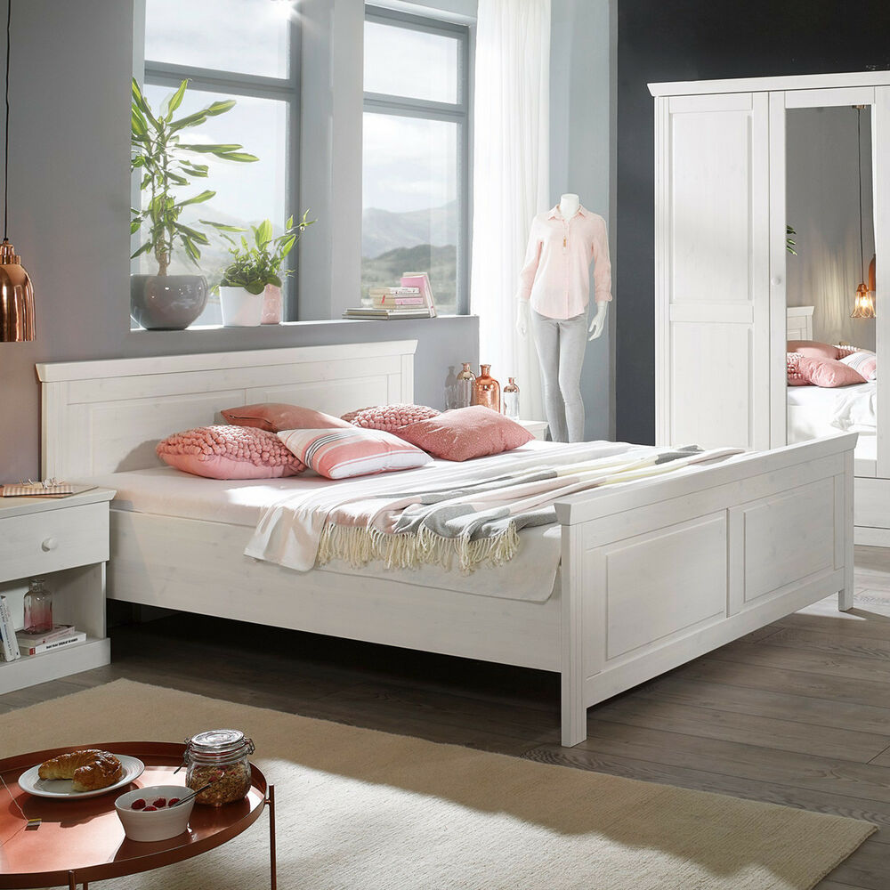 bett genia bettgestell doppelbett in kiefer massiv wei 180x200 cm landhausstil ebay. Black Bedroom Furniture Sets. Home Design Ideas