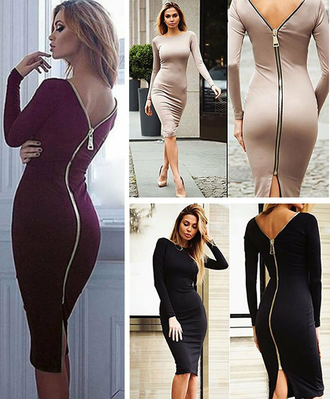 923824793d2b32 Details about Women Sexy Bandage Bodycon Backless Club Dress Zipper Long Sleeve  Tight Fitted