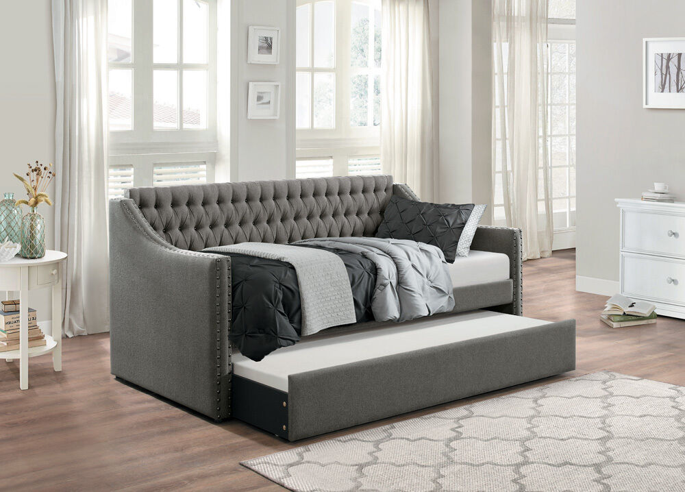 Dark Grey Sofa Twin Bed Dorm Room Daybed With Trundle