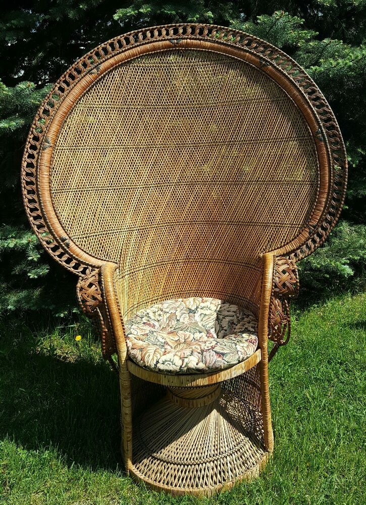 Vintage 1970s Emmanuel Wicker High Back Fan Peacock Rattan Chair