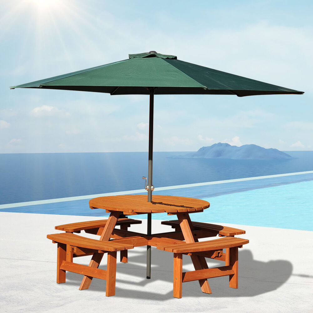 Outsunny 8 Seat Garden Outdoor Wooden Round Picnic Table