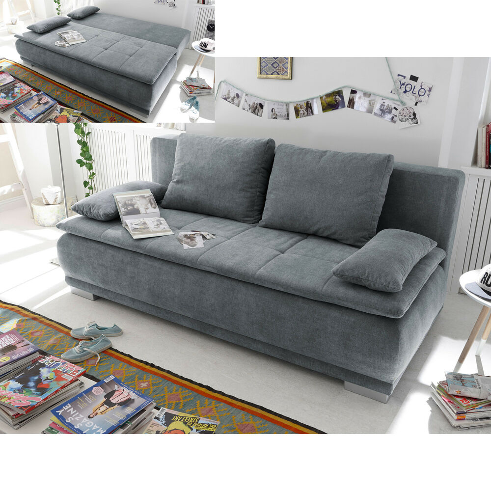schlafsofa luigi dauerschl fer sofa stoff anthrazit federkern mit topper 208 cm ebay. Black Bedroom Furniture Sets. Home Design Ideas